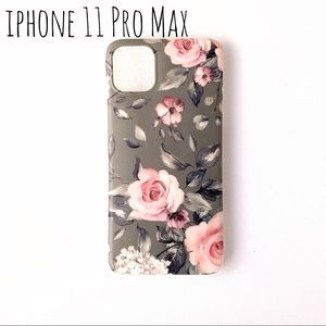 ❤️ iPhone 11 Pro Max Phone Case gray pink flowers
